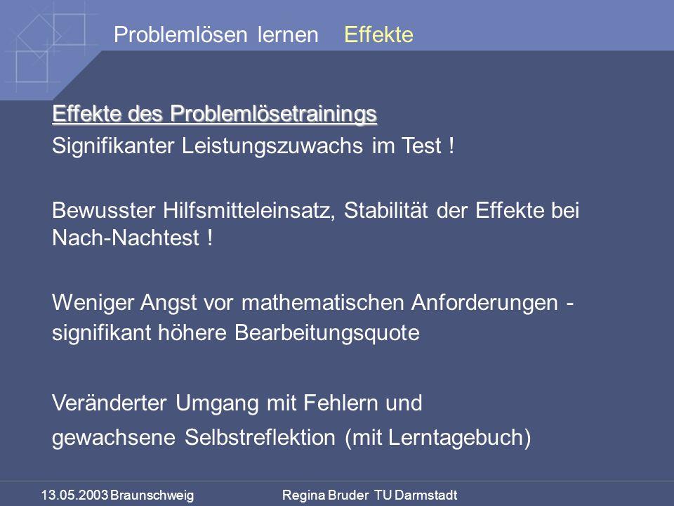 Effekte Effekte des Problemlösetrainings. Signifikanter Leistungszuwachs im Test !