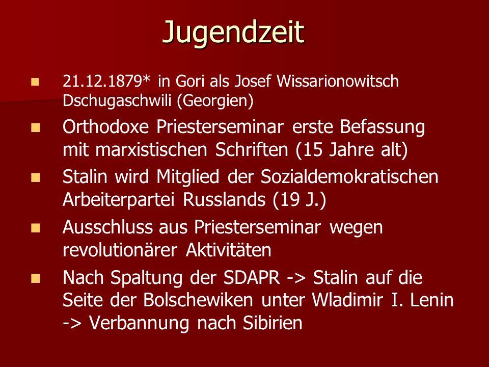 Jugendzeit 21.12.1879* in Gori als Josef Wissarionowitsch Dschugaschwili (Georgien)