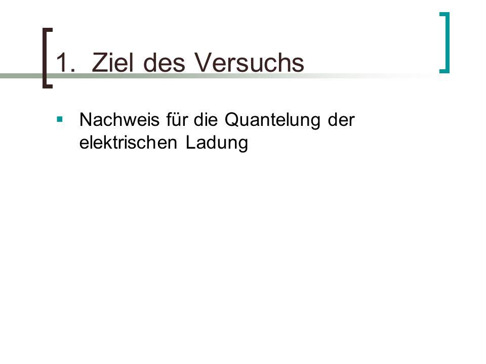 1. Ziel des Versuchs Nachweis für die Quantelung der elektrischen Ladung