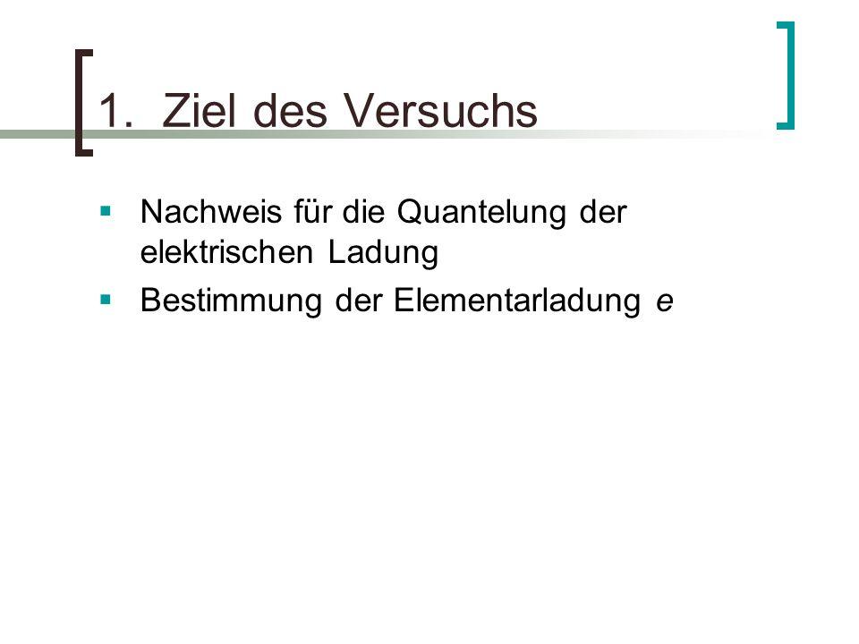 1. Ziel des Versuchs Nachweis für die Quantelung der elektrischen Ladung.
