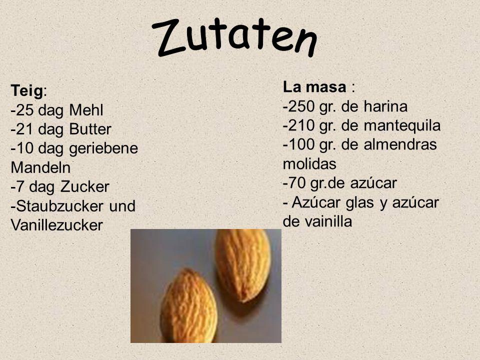 Zutaten La masa : Teig: -250 gr. de harina -25 dag Mehl