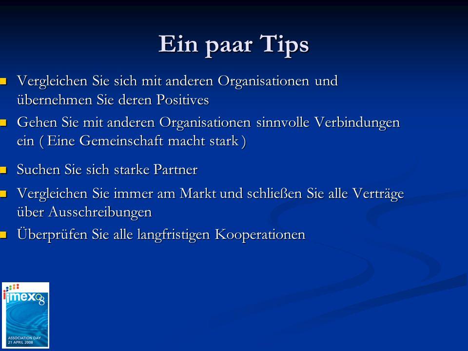 Ein paar Tips Vergleichen Sie sich mit anderen Organisationen und übernehmen Sie deren Positives.
