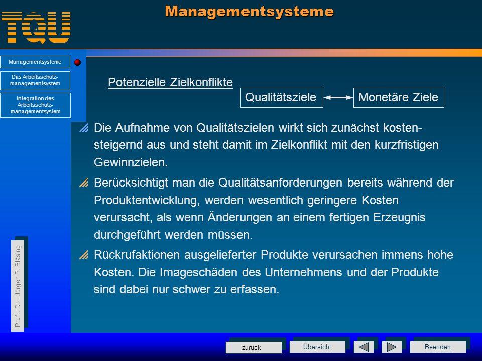 Managementsysteme Potenzielle Zielkonflikte Qualitätsziele