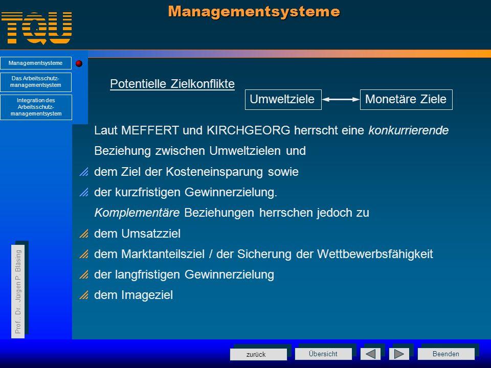 Managementsysteme Potentielle Zielkonflikte Umweltziele Monetäre Ziele
