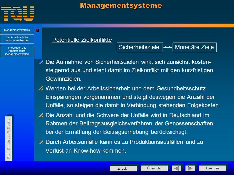 Managementsysteme Potentielle Zielkonflikte Sicherheitsziele