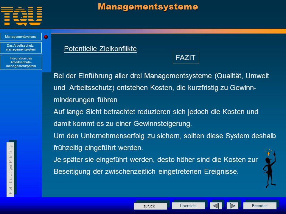 Managementsysteme Potentielle Zielkonflikte FAZIT