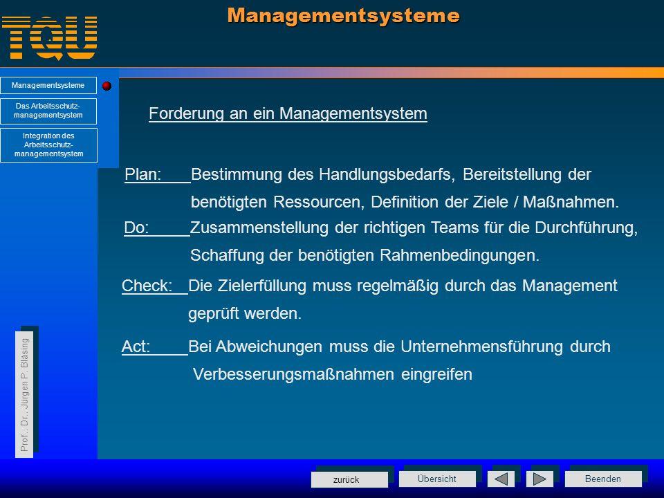 Managementsysteme Forderung an ein Managementsystem