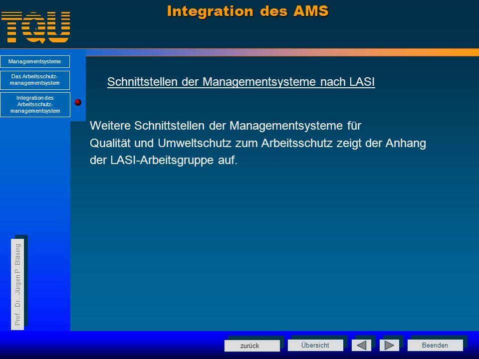 Integration des AMS Schnittstellen der Managementsysteme nach LASI