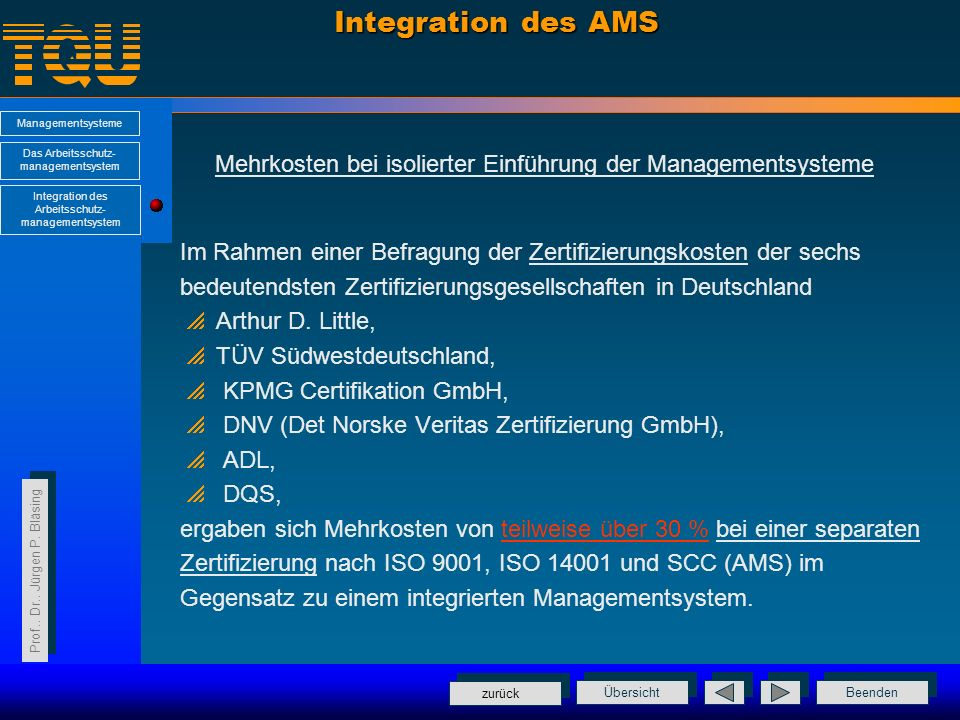 Integration des AMS Mehrkosten bei isolierter Einführung der Managementsysteme. Im Rahmen einer Befragung der Zertifizierungskosten der sechs.