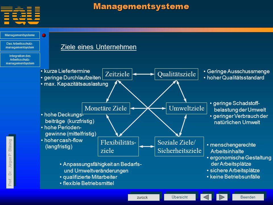 Managementsysteme Ziele eines Unternehmen Zeitziele Qualitätsziele