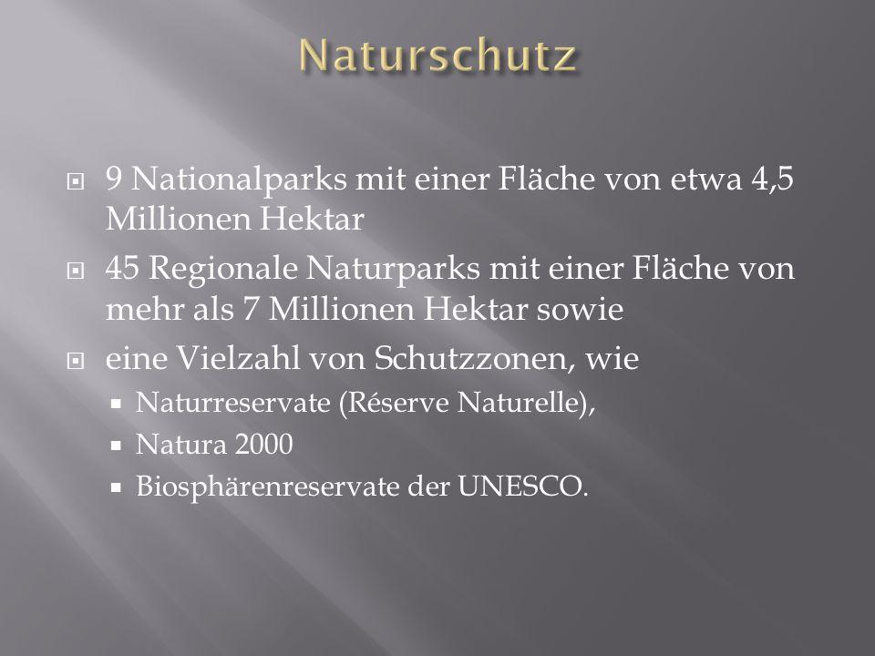 Naturschutz9 Nationalparks mit einer Fläche von etwa 4,5 Millionen Hektar.