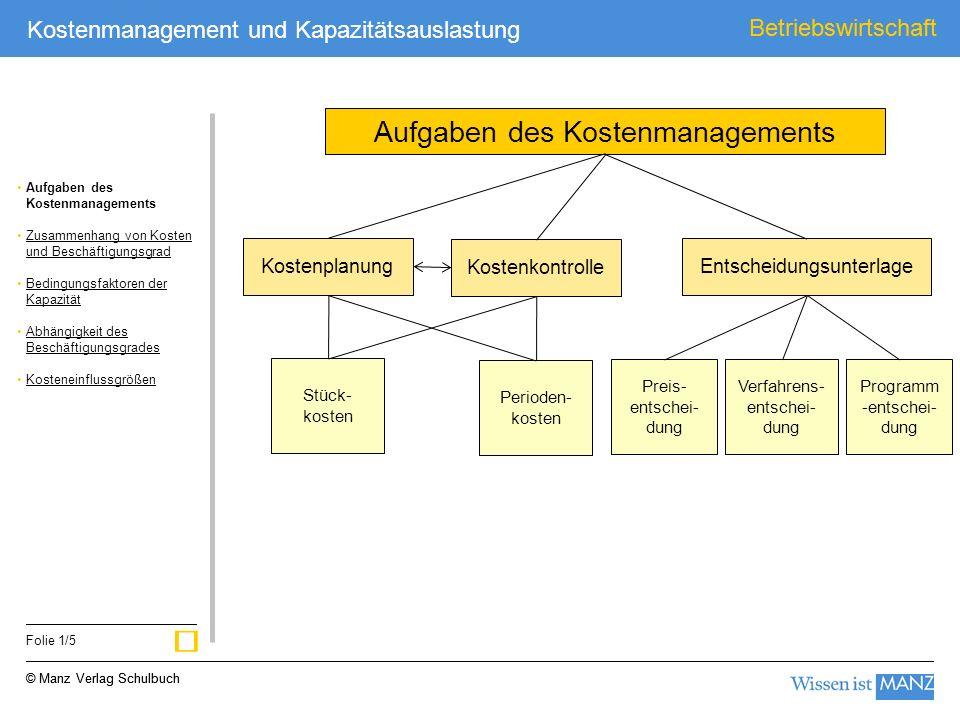 ü Aufgaben des Kostenmanagements Betriebswirtschaft Kostenplanung