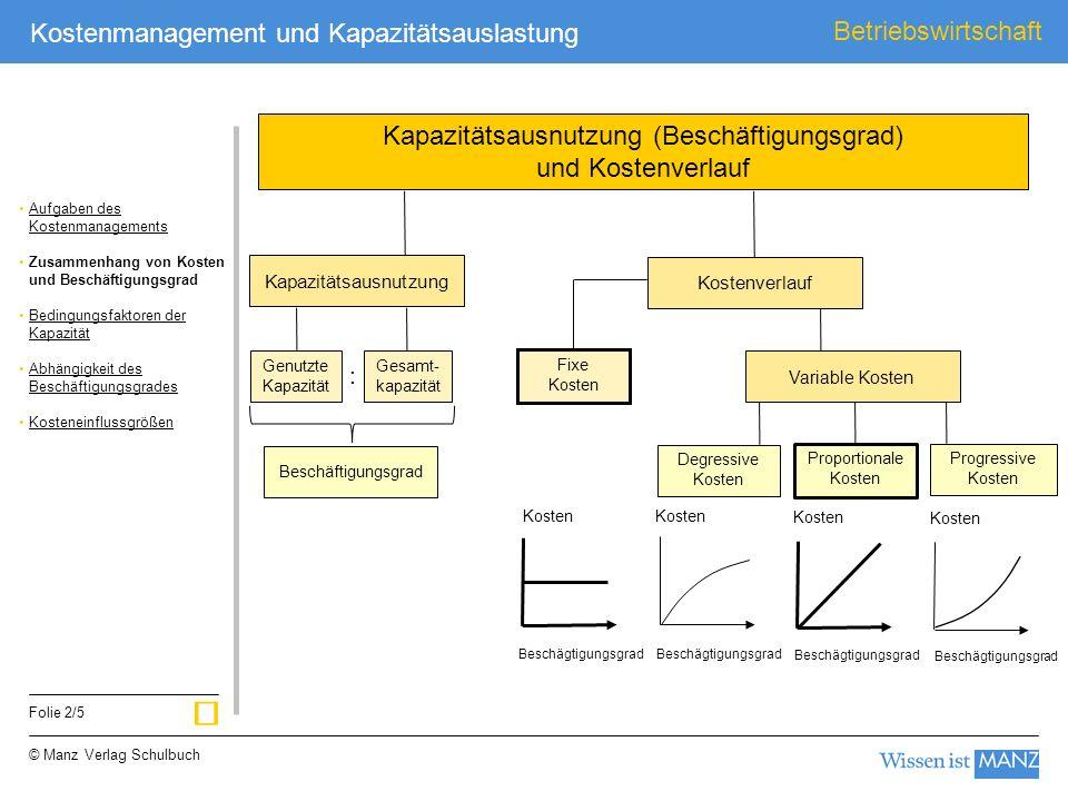 Kapazitätsausnutzung (Beschäftigungsgrad) und Kostenverlauf