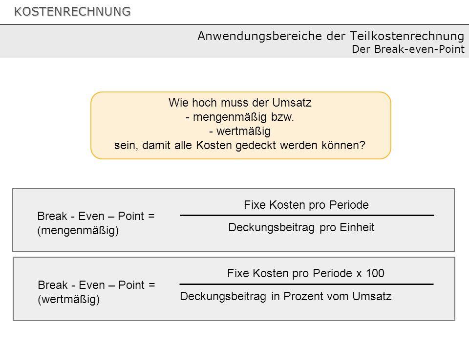 Anwendungsbereiche der Teilkostenrechnung Der Break-even-Point