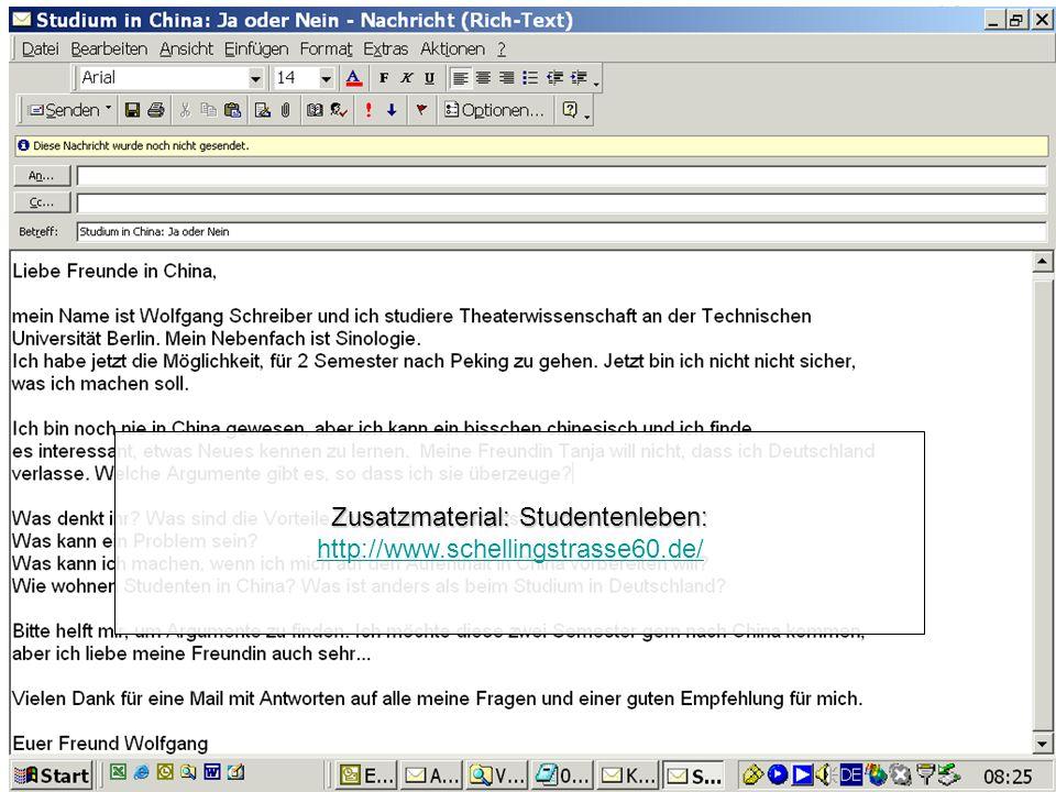 Vorbereitung Transfer: Email über Auslandsstudium