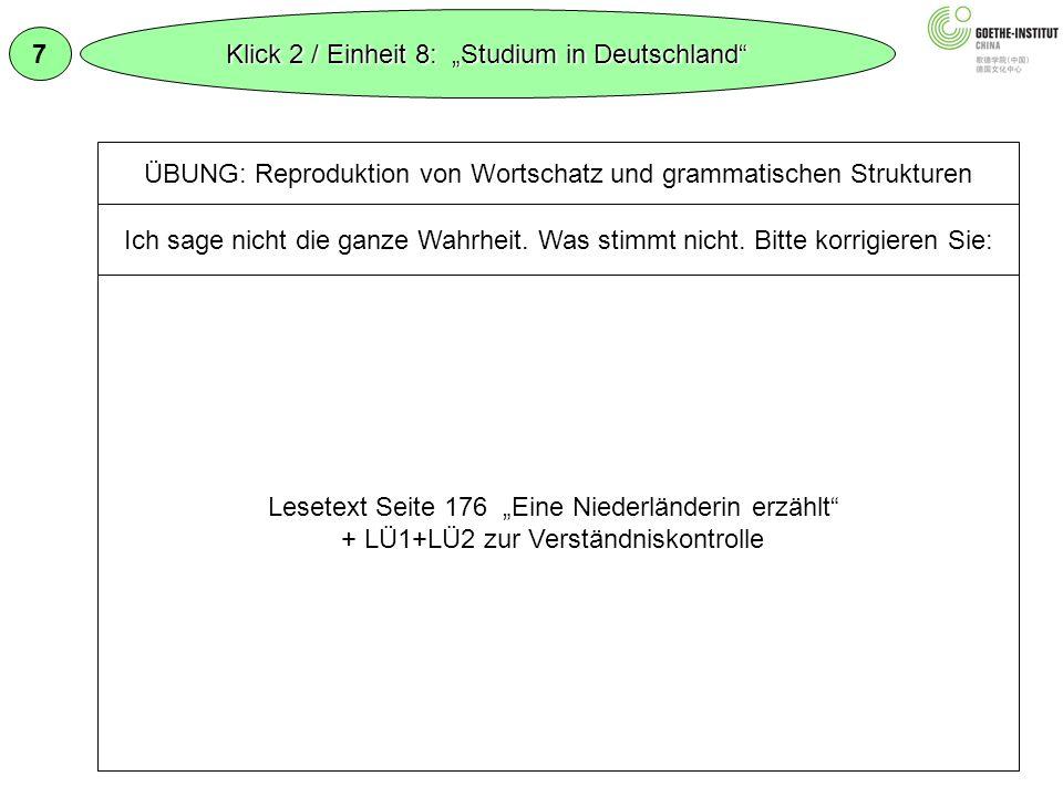 """Klick 2 / Einheit 8: """"Studium in Deutschland 7"""