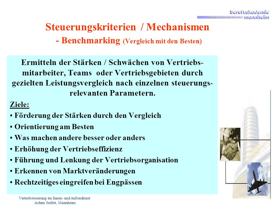 Vertriebsteuerung im Innen- und Außendienst Achim Seifert, Mannheim