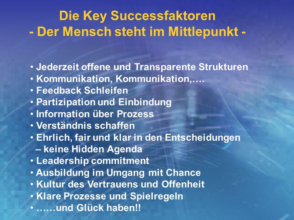 Die Key Successfaktoren - Der Mensch steht im Mittlepunkt -