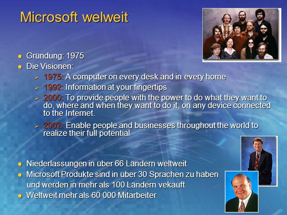Microsoft welweit Gründung: 1975 Die Visionen: