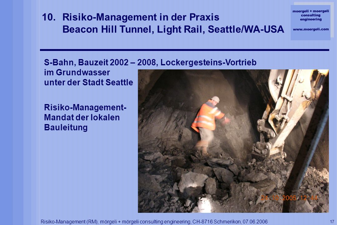 Risiko-Management in der Praxis Beacon Hill Tunnel, Light Rail, Seattle/WA-USA