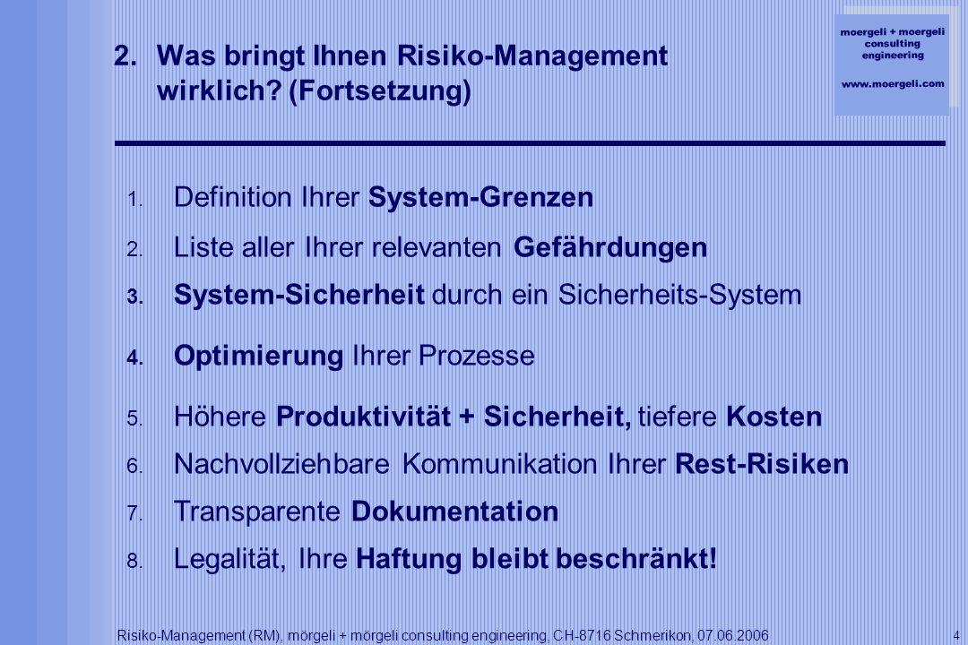 Was bringt Ihnen Risiko-Management wirklich (Fortsetzung)