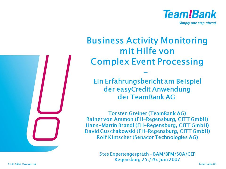 Business Activity Monitoring mit Hilfe von Complex Event Processing