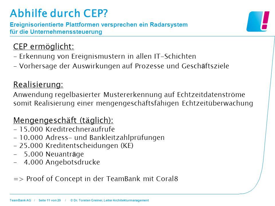 Abhilfe durch CEP CEP ermöglicht: