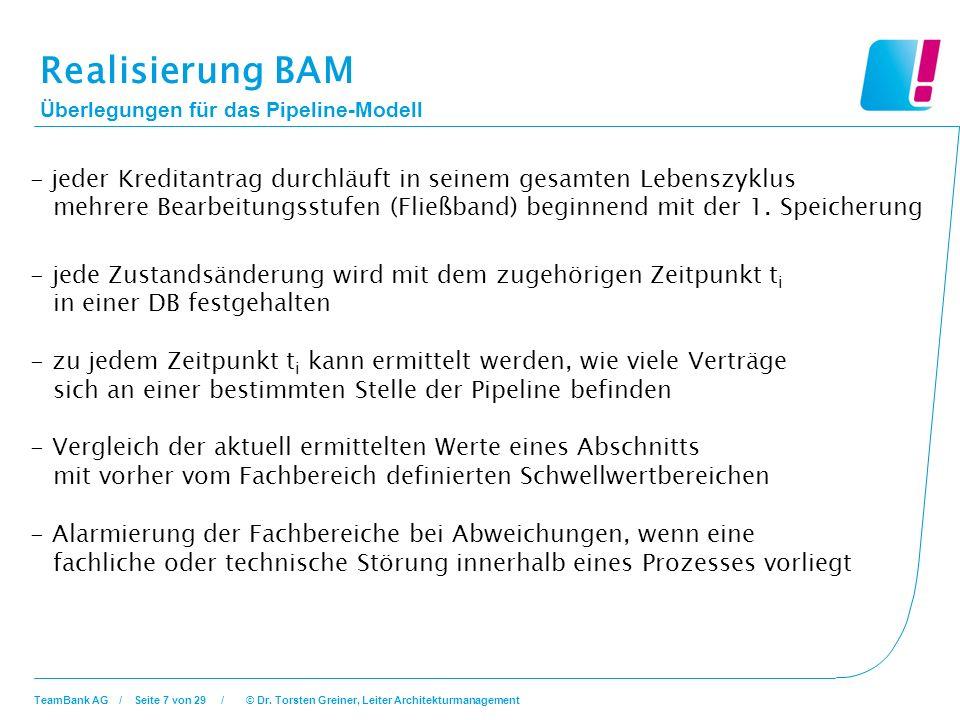 Realisierung BAM Überlegungen für das Pipeline-Modell.