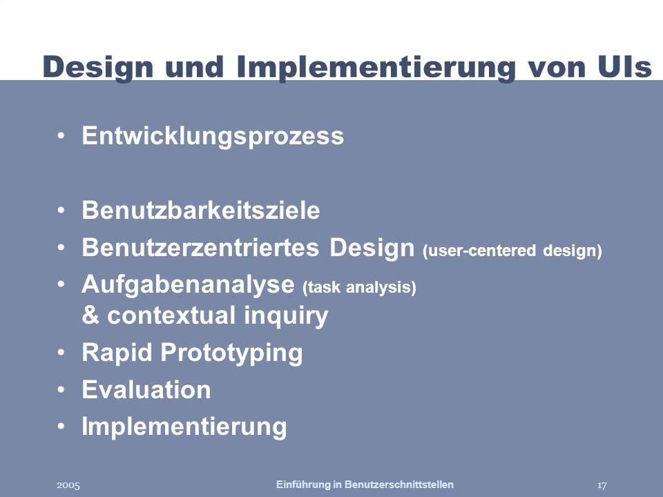 Design und Implementierung von UIs