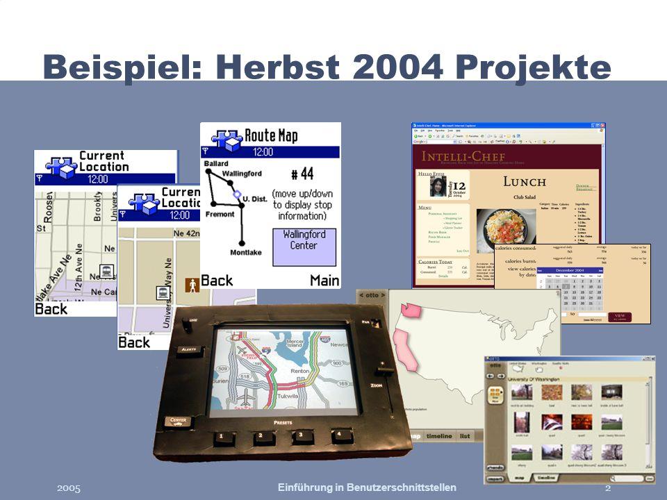 Beispiel: Herbst 2004 Projekte