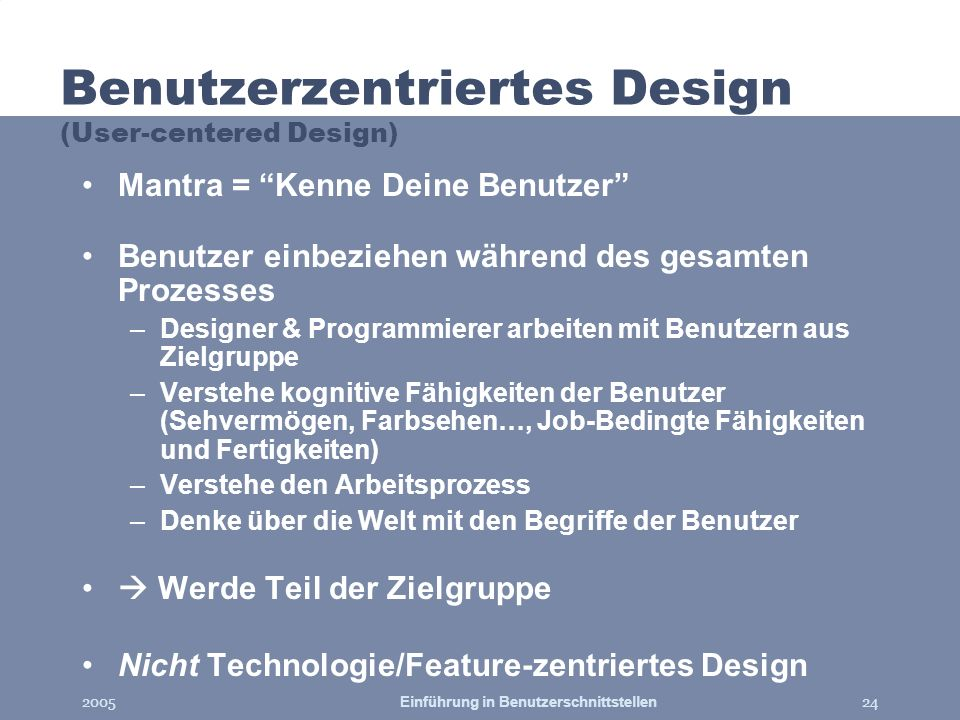 Benutzerzentriertes Design (User-centered Design)