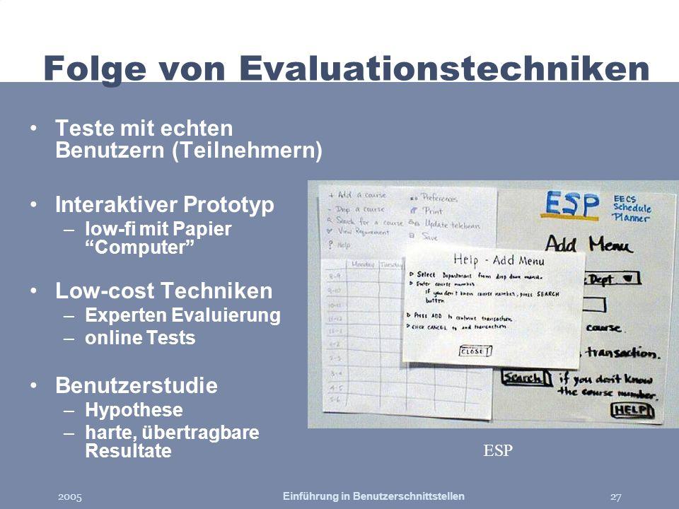 Folge von Evaluationstechniken