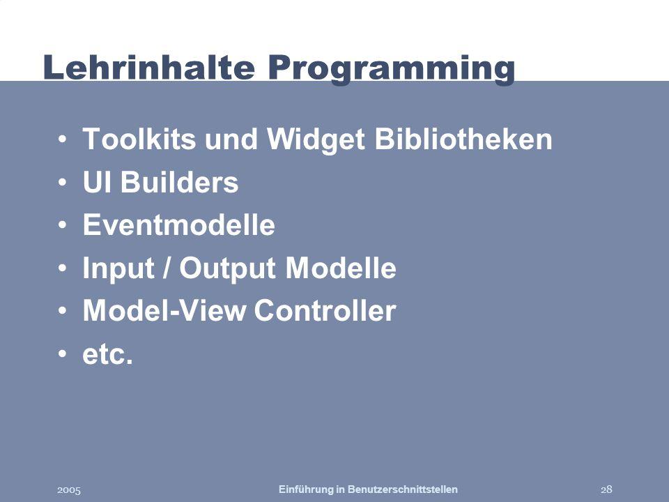 Lehrinhalte Programming