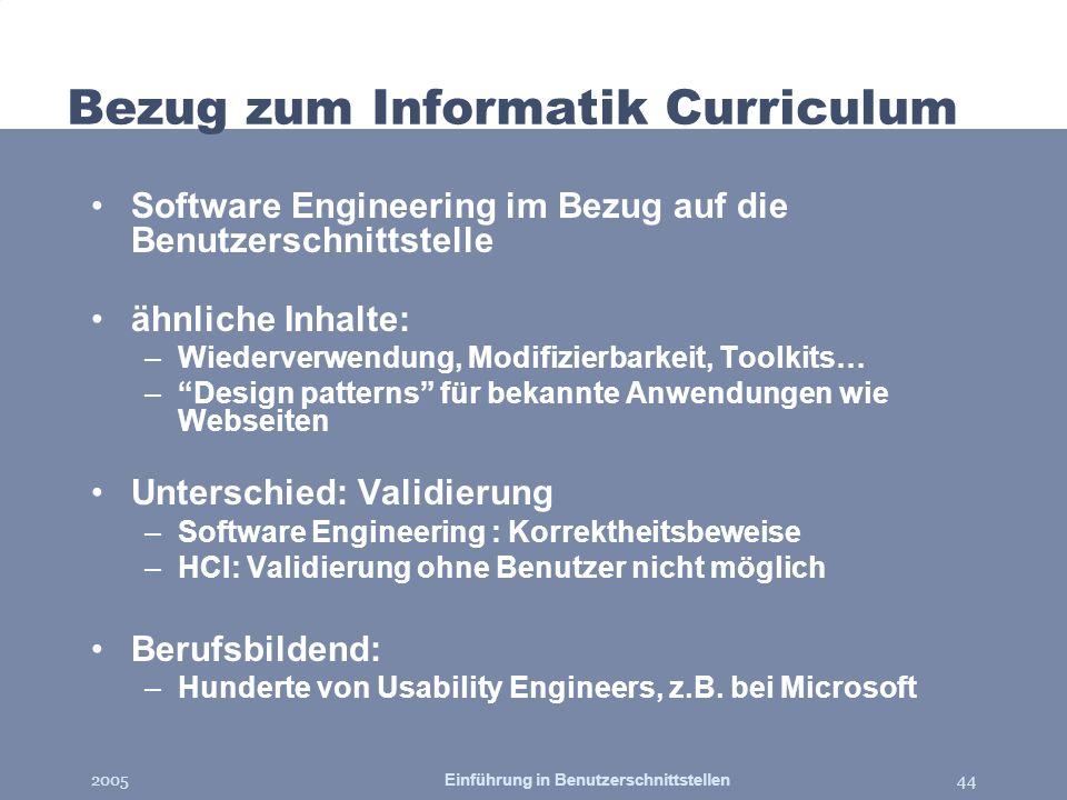 Bezug zum Informatik Curriculum