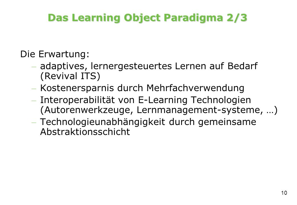 Das Learning Object Paradigma 2/3