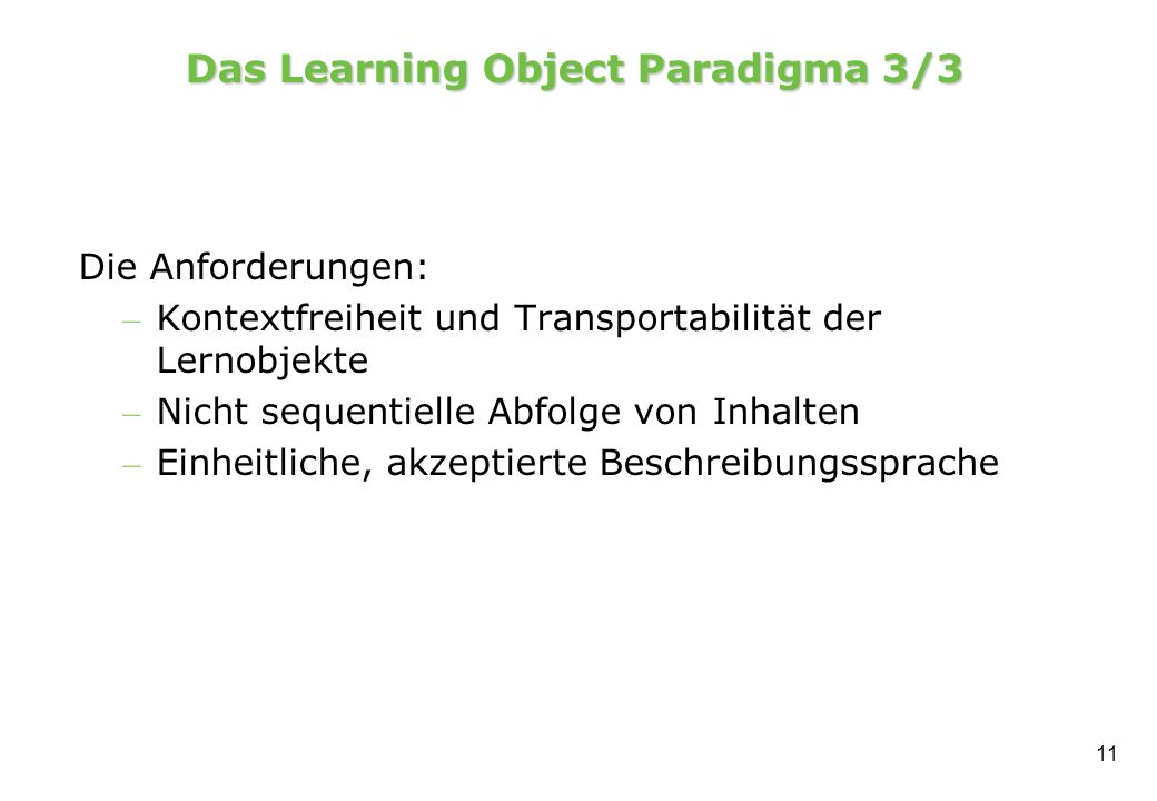 Das Learning Object Paradigma 3/3