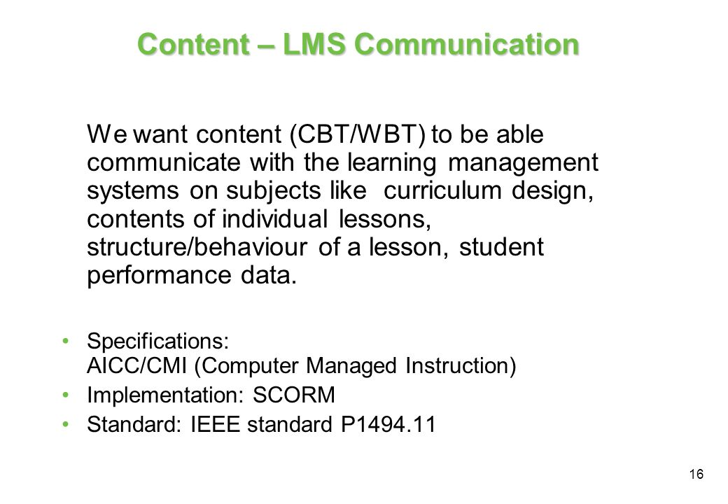 Content – LMS Communication
