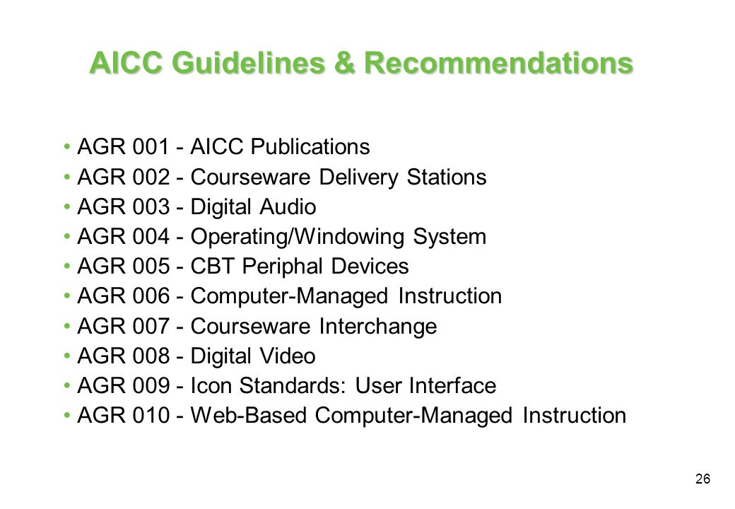 AICC Guidelines & Recommendations