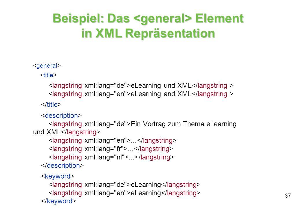 Beispiel: Das <general> Element in XML Repräsentation