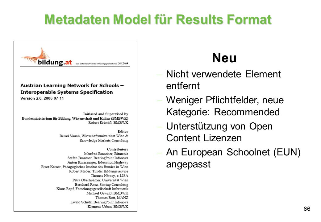 Metadaten Model für Results Format