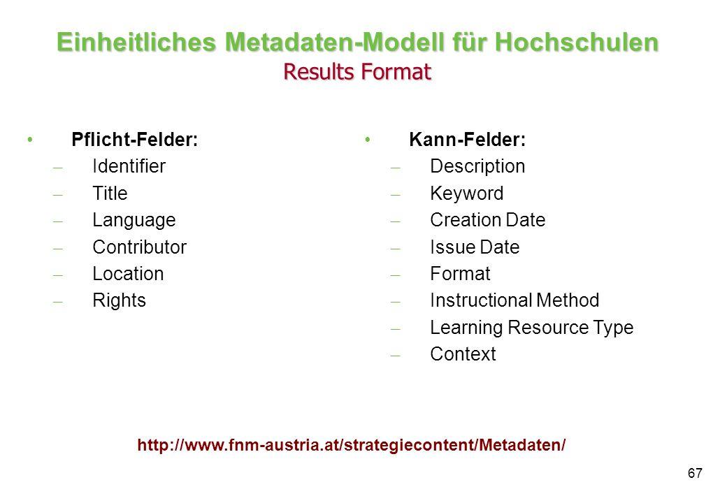 Einheitliches Metadaten-Modell für Hochschulen Results Format