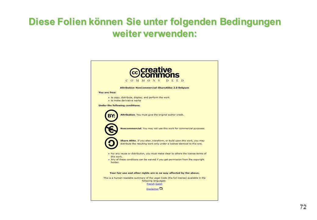 Diese Folien können Sie unter folgenden Bedingungen weiter verwenden: