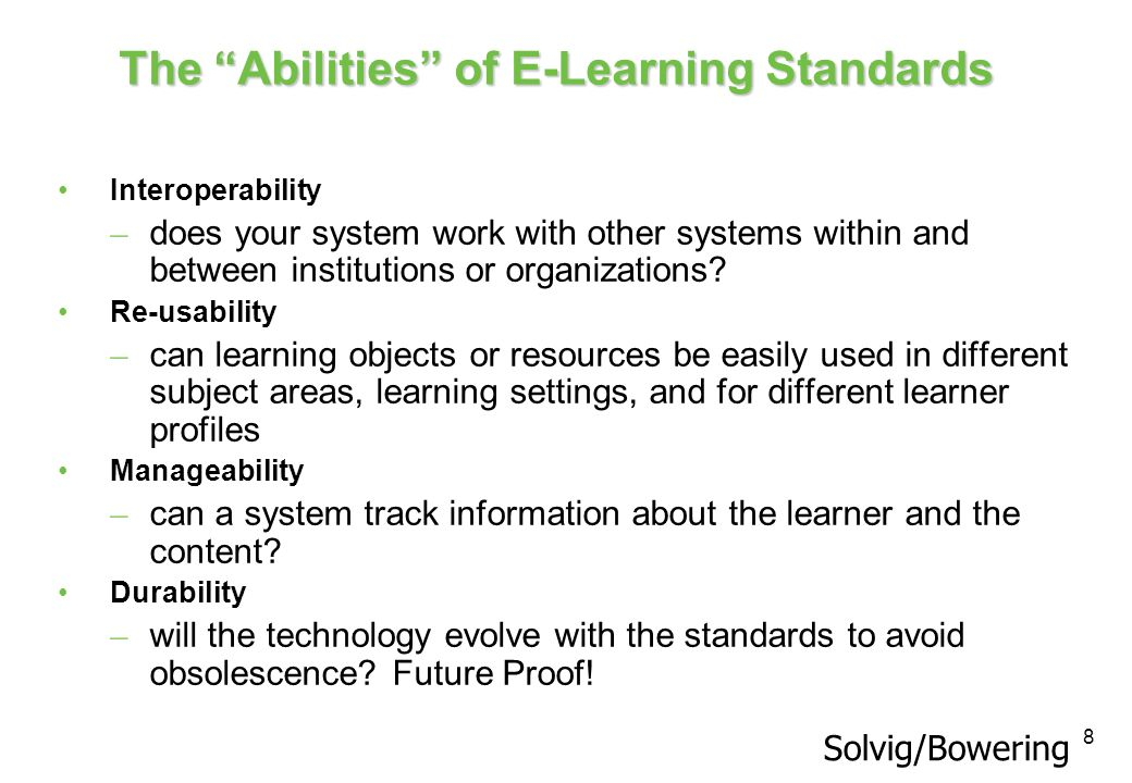 The Abilities of E-Learning Standards