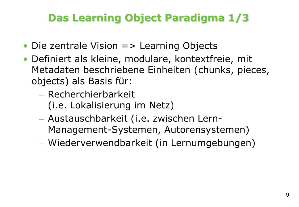 Das Learning Object Paradigma 1/3