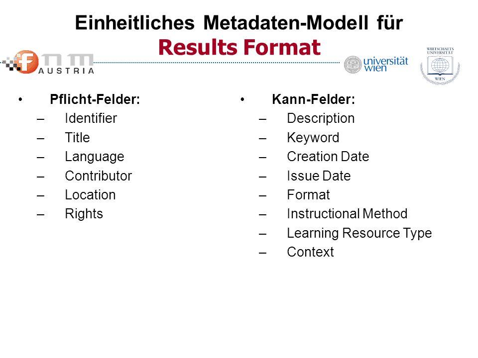 Einheitliches Metadaten-Modell für Results Format
