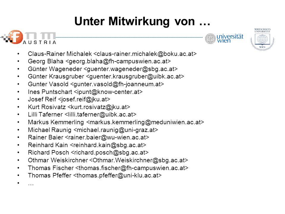 Unter Mitwirkung von … Claus-Rainer Michalek <claus-rainer.michalek@boku.ac.at> Georg Blaha <georg.blaha@fh-campuswien.ac.at>