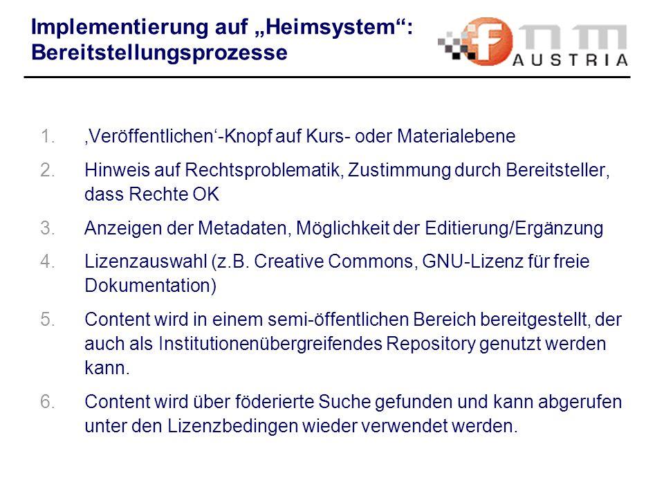 """Implementierung auf """"Heimsystem : Bereitstellungsprozesse"""