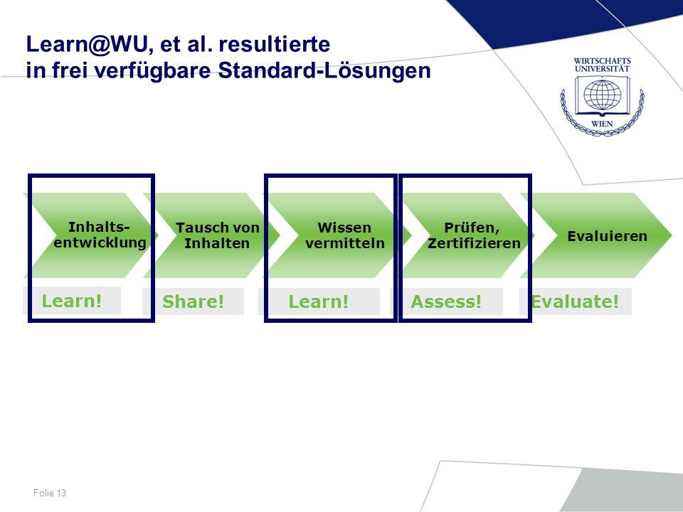 Learn@WU, et al. resultierte in frei verfügbare Standard-Lösungen