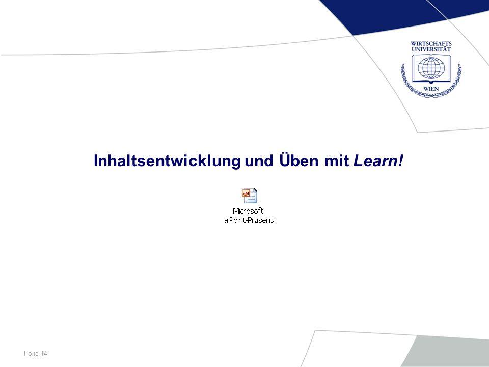 Inhaltsentwicklung und Üben mit Learn!