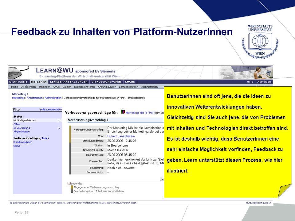 Feedback zu Inhalten von Platform-NutzerInnen
